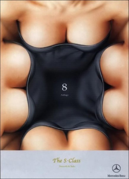 8 airbags. Really? Breasts as airbags?