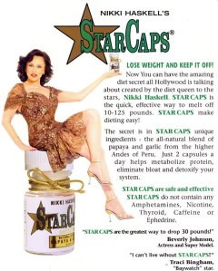 An advertisement for StarCaps featuring the company's founder, Nikki Haskell.