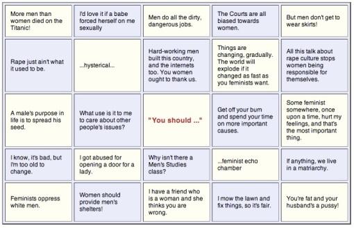 anti-feminist 2 bingo