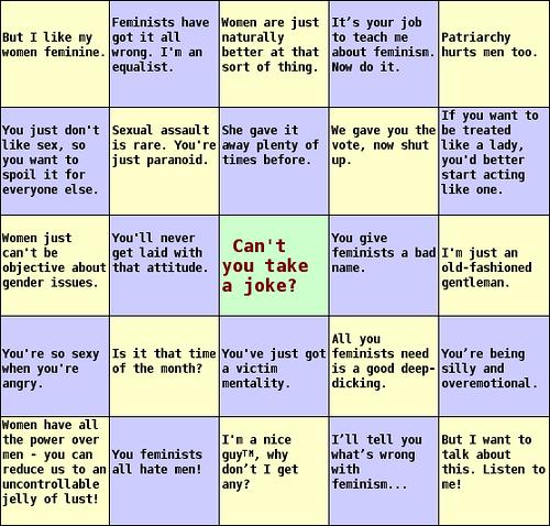 anti-feminist bingo