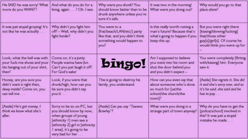 rape apologist bingo
